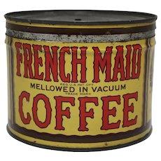 "Late 1920's - 1930's Rare 'French Maid"" Key-wind Litho 1 lb. Coffee Tin"