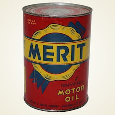 Late 1950's, Early 60's Unopened 1 Qt. Litho Can of Merit Motor Oil