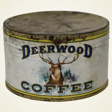 Very Rare 1920's Unopened Sample Can of Deerwood Coffee