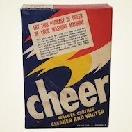 Rare Early 1950's 'Large Size Free Sample' Unopened Box of Cheer Laundry Detergent