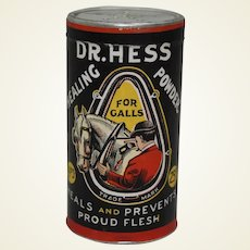 Early 1900's Unopened 'Dr. Hess Healing Powder' Cardboard/Tin  Container