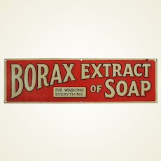 "Early 1900's English 'Borax Extract of Soap' 24"" Metal Advertising Sign"