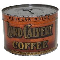 1930's, 40's Unopened 1 Lb. Key Wind Lord Calvert Coffee Tin.