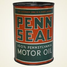 Circa: 1930's 1 Qt.  'Penn Seal' Motor Oil Can
