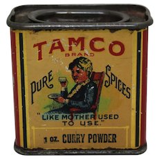 Rare Early 1900's 'Tamco' Curry Powder Litho Spice Tin