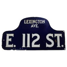 1920's, 30's New York City (Lexington Ave) Two-Sided 'Humpback' Porcelain Street Sign