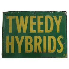 1950's Embossed 'Tweedy Hybrid' Metal Seed Corn Advertising Sign