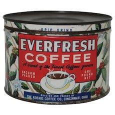 1940's 1 Lb. Key Wind Litho 'Everfresh Coffee' Tin