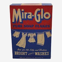 Rare 1940's Unopened 12 Oz. Box of Mira-Glo Pure Soap Flakes