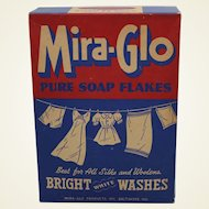 Rare 1940's Unopened 12 Oz. Box of Mira-Glo Pure Soap Flakes