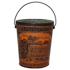 Turn of Century Schepps Cocoanut Litho Tin Pail