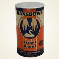 1930's 'Hansdown' Hand Cleaner Advertising Container