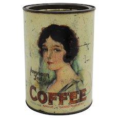 Rare 1920's 'American Lady' 1 lb. Litho  Coffee Tin