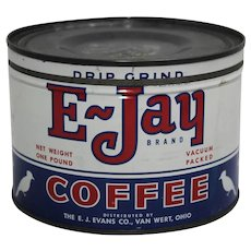 Early 1950'S 'E-Jay Brand' 1 Lb. Key Wind Litho Coffee Tin