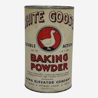 Very Rare 1940's Kansas 'White Goose Baking Powder' Advertising Container