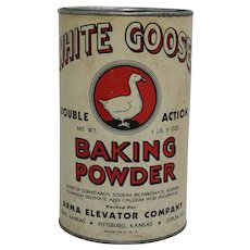 Very Rare 1940's Kansas 'White Goose Baking Powder' Advertising Container