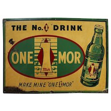 "Rare 1939-1945 ""One-1-Mor"" Embossed Metal Soda Sign"