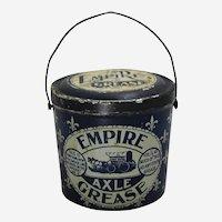 1895-1922 'Empire Axle Grease' Litho Tin Advertising Pail.