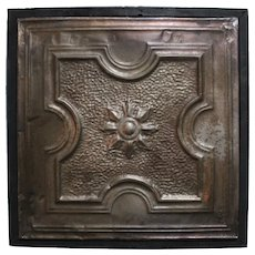 Late 1800's/Turn of Century Framed Embossed Tin Ceiling Tile