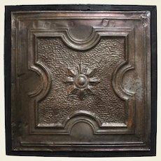 Late 1800's/Turn of Century Framed Embossed Tin Ceiling Tile