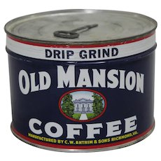 1940's, early 50's Unopened Near Mint 'Old Mansion' 1 lb. Litho Coffee Tin