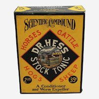 "Early 1900's Unopened 2 lb. Box of ""Dr. Hess Stock Tonic"""
