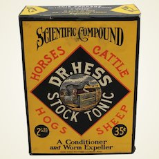 """Early 1900's Unopened 2 lb. Box of """"Dr. Hess Stock Tonic"""""""