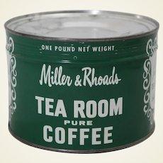 Circa: 1950's Unopened 'Miller & Rhoads Tea Room Coffee' 1 lb. Litho Key Wind Coffee Can