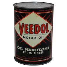 Circa: 1936-1956 1 Qt. Veedol Motor Oil Litho Can