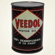 Circa: 1936-1956 1 Qt. Veedol Motor Oil Litho Can