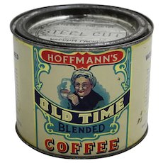 "Early 1900's ""Hoffmann's Old Time"" 1 lb. Litho Coffee Tin"