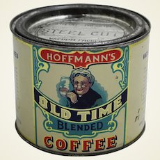 """Early 1900's """"Hoffmann's Old Time"""" 1 lb. Litho Coffee Tin"""