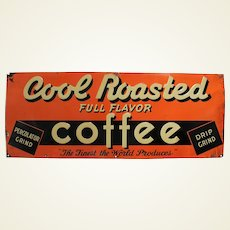 "Circa: 1938-1955 Embossed ""Cool Roasted Coffee""  Metal 29"" Advertising Sign"