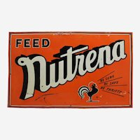"1950's  Embossed Metal ""Nutrena"" Farm Food Advertising Sign"