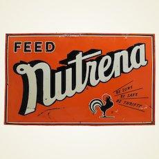 """1950's  Embossed Metal """"Nutrena"""" Farm Food Advertising Sign"""