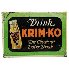 1940's, Early 50's Krim-Ko Chocolate Dairy Drink Embossed Tin Advertising Sign
