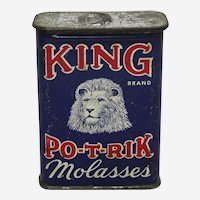 "Early 1900's ""KING PO-T-RIK"" Molasses Litho Tin."