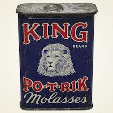 """Early 1900's """"KING PO-T-RIK"""" Molasses Litho Tin."""