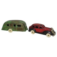 Rare 1936 Cast Iron 'Kenton' Pontiac Sedan Car with Travel Trailer