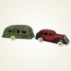 Rare 1936 Cast Iron 'Kenton' Pontiac Sedan with Travel Trailer