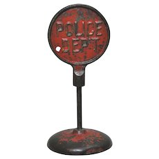 "Circa: 1924-1936 Arcade Embossed Cast Iron Two Sided ""Don't Park Here""/ ""Police Dept"" Traffic Street Sign."