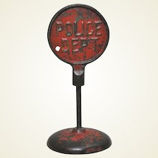 """Circa: 1924-1936 Arcade Embossed Cast Iron Two Sided """"Don't Park Here""""/ """"Police Dept"""" Traffic Street Sign."""