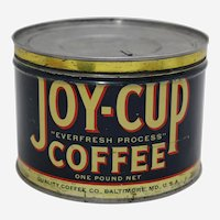 "Rare 1930's, 40's ""Joy-Cup"" Litho Key Wind Coffee Can"