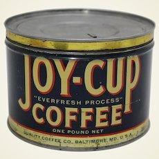 "Rare 1930's, 40's ""Joy-Cup"" Litho Key Wind Coffee Can"