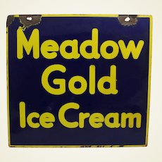 """Circa: 1920-1940 Two Sided """"Meadow Gold Ice Cream"""" Porcelain Sign"""