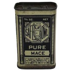 "Circa: 1930's ""Safe Owl"" (Mace) Litho Spice Tin"