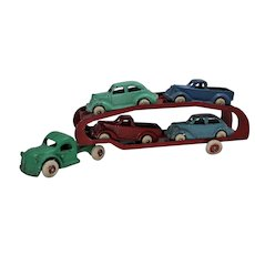 Circa 1938-1940 Arcade Car Transport With Four Vehicles