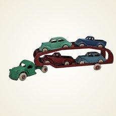 Circa 1938-1940 Arcade Car Transport With Four Vehicles