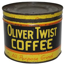 "Rare, Circa: 1930's ""Oliver Twist"" Litho Coffee Can"