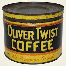 "Rare, Circa: 1930's ""Oliver Twist"" Litho Coffee Can"